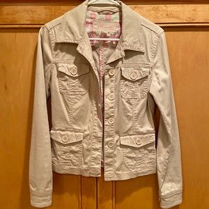 Tan jacket w contrasting pink stitching jean style